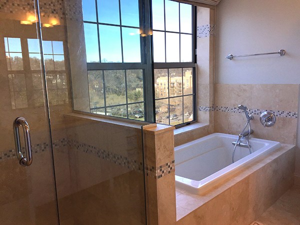 Incomparable view, every small luxury including a jetted tub, in spa-like 5 piece bath.